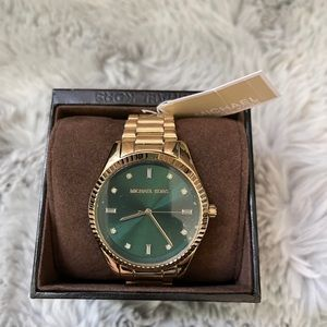 Michael Kors Emerald and gold tone watch